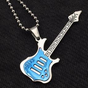 Corrente Com Pingente De Guitarra Colar Rock Story Inox/azul