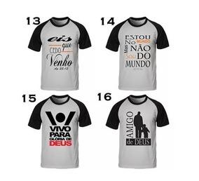 Kit Com 12 Camisetas Masculinas Frases Evangelicas