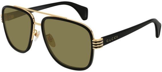 Gucci Gg0448s 002 Aviator Negro Cafe Ambar Acetato Original