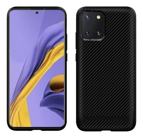 Capa Gel Fibra De Carbono Samsung Galaxy Note 10 Lite Preta