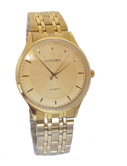 Relógio Masculino Longbo Dourado Original Folheado A Ouro