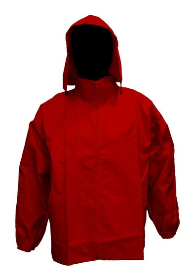 Rompeviento Impermeable Liso Rojo Talles Grandes