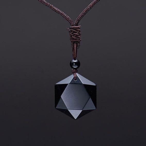Cordão Colar Hexagrama Com Pingente Negro Obsidian Stone