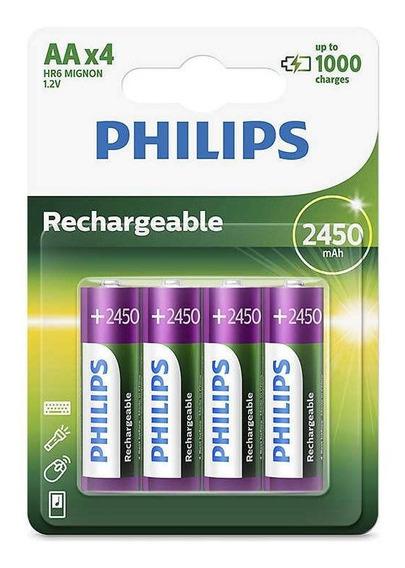 Pilha Recarregável Philips R6nm Aa 2450mah - 4 Un - Lacrado