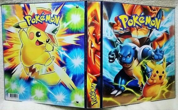 Fichário Álbum Pasta Pokemon Pikachu + 30 Folhas + 59 Cartas