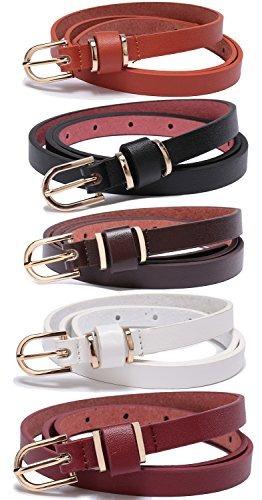 Juego De 5 Cinturones De Piel Para Mujer Color Sólido Para