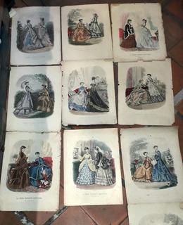 La Moda Elegante Ilustrada Antiguo Vestido Arte Siglo Xix