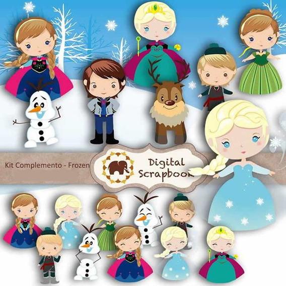 Kit Imprimible Pack Fondos Frozen 15 Clipart