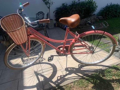Bicicleta Vintage Rosa Con Canasto