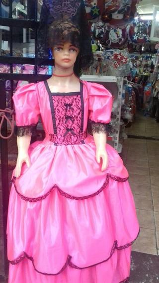 Espectacular Vestido De Dama Antigua Con Peineton Y Mantilla