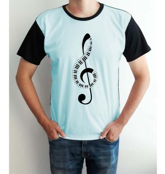 Camiseta Masculina Musica Nota Msuicais Clave De Sol