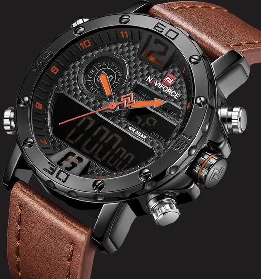 Relógio Masculino Esportivo Militar Naviforce Pulseira Couro