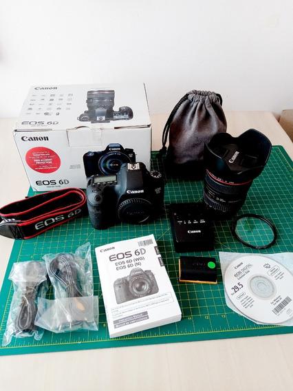 Canon 6d Fullframe +lente 24-105mm +bateria +carregador