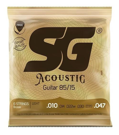 Encord Sg Violão Aço 010 + 1 Palheta + 1 Corda Extra (mi)