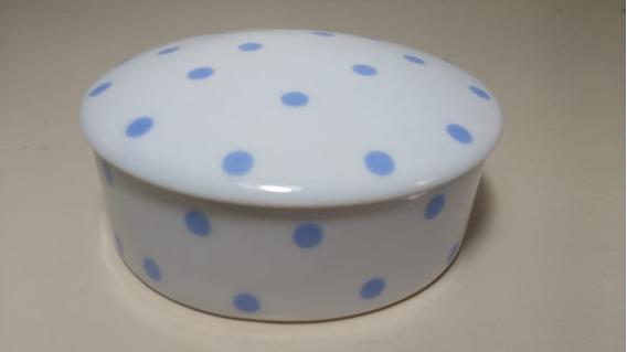 Pequeno Porta Jóia De Porcelana De Poá Branco Azul Bolinhas