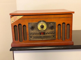 Vitrola Retro Toca-discos Cd Bluetooth Radio Usb