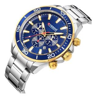 Reloj Deportivo Curren 8309 Acero Inox Casual Plateado Caja