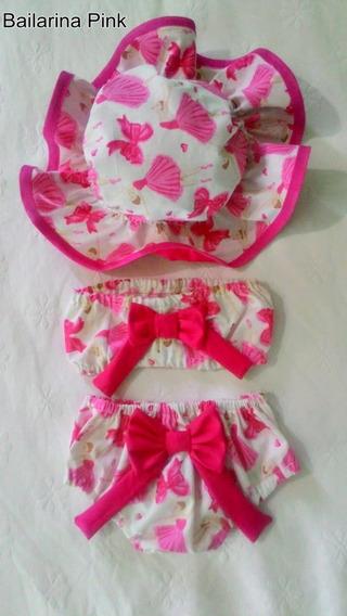 Biquíni Bebê Bailarina Com Top Kit Praia Menina