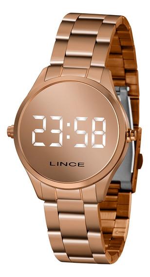 Relógio Feminino Rose Digital Led Branco Lince Mdr4617lbxrx