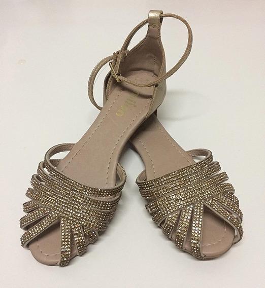 Sapato Milon Dourado Com Strass, Número 30.