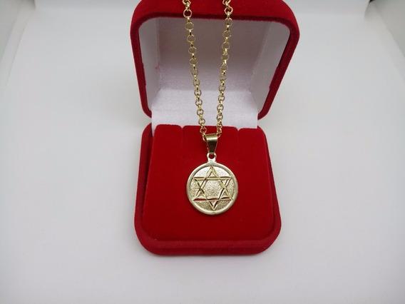 Medalha Estrela De Davi Com Colar Kartier Banhada A Ouro 18k