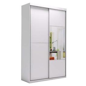 Guarda-roupa 2 Portas De Correr Espelhado Branco 1,42m