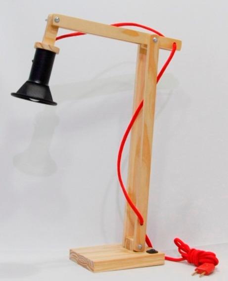 Abajur Luminaria De Mesa Madeira Flexivel