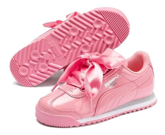 Tenis Puma Niñas Roma Heart Patent Preescolar Fashion Style Casual Moda Urbano Charol Listones Original