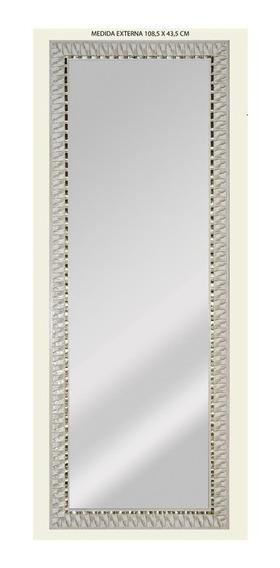 Espelho De Parede Retangular Safira 120 119x44cm Branco