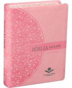 Bíblia Sagrada Feminina Letra Grande Borda Florida Compacta