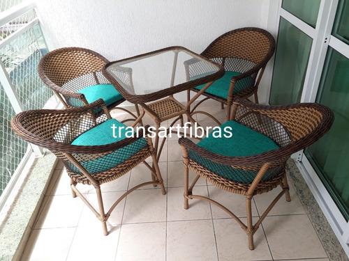 Imagem 1 de 9 de Jogo Mesa E Cadeira Fibra Para Varanda Poltrona Area Externa