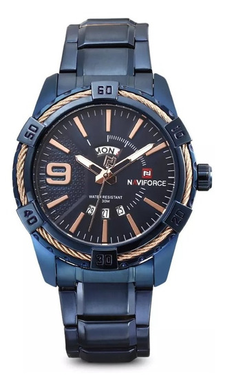 Relógio Original Force Extra Luxo Social Esporte Aço Azul