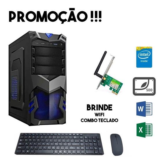 Computador Empresarial Completo 4gb Intel Ssd 120gb Wi-fi