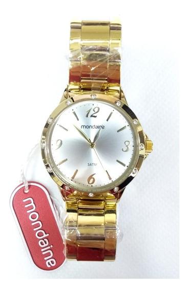 Relógio Mondaine Fem. Dourado 83315lpmvde2k Com Strass E Nfe