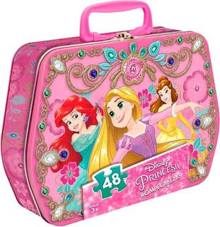 Lonchera Metalica Con Rompecabezas 48pzs Princesas De Disney