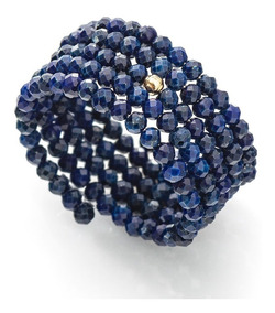 Anel De Ouro 18k Espiral Lapis Lazuli An36002