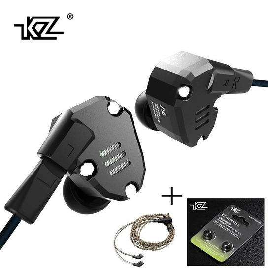 Fone Kz Zs6 Retorno De Palco +cabo Prata + Espuma De Memória