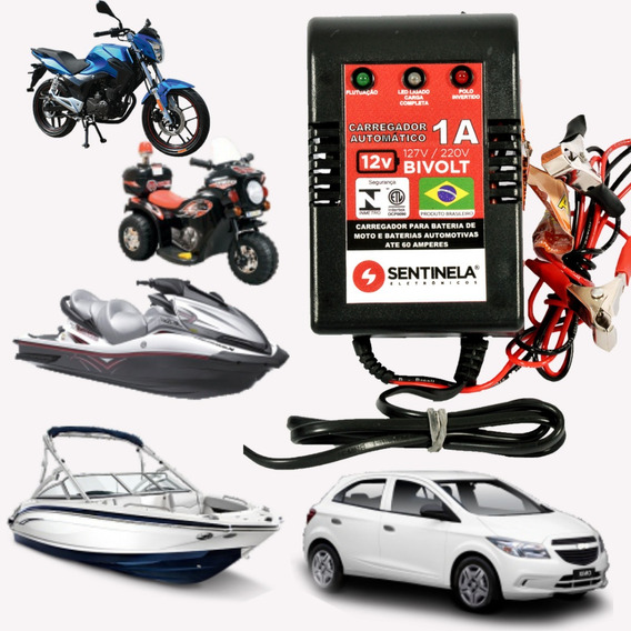 Carregador Bateria Moto Carro Brinquedos 12v Até 60amperes