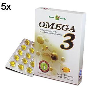 Kit 5x Omega 3 - 60 Cápsulas 500mg Soft Gel - Terra Verde