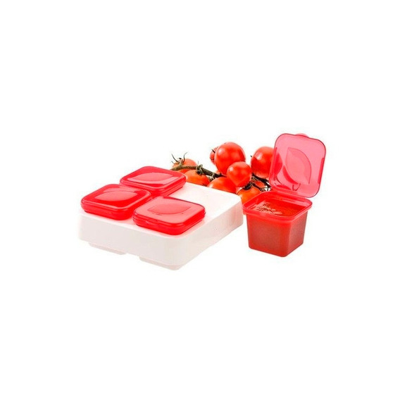 Contenedor Salsas 4Piezas Rojo 15 X 15 X 5.7 Cm Prinz