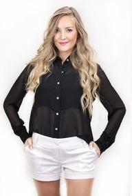 Roupas Femininas Blusa Camisa Social Feminina Voil Preta