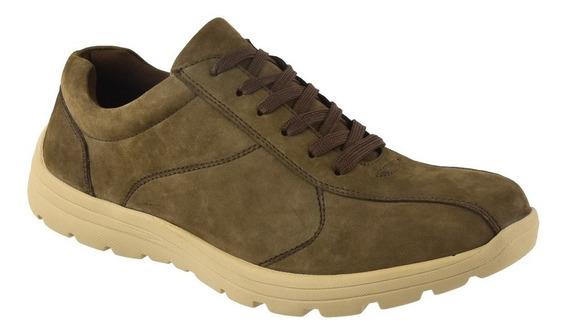 Zapato De Cuero Masculino Acordonado Marrón