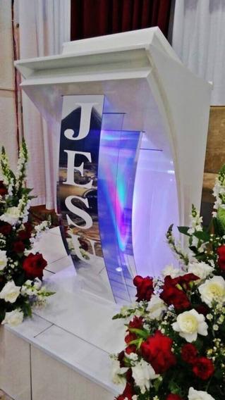 Púlpito Com Luz Led E Controle Remoto E Nome Ministério