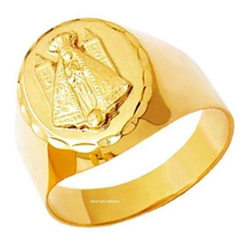 Anel Religioso Nossa Senhora Aparecida Ouro 18k K650