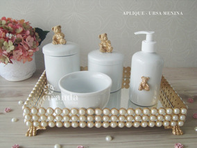 Kit Higiene Porcelana Bebe Pote Gel Bandeja Perola Cotonete