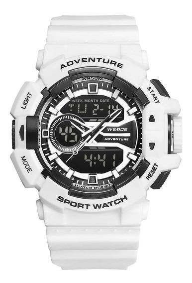 Relógio Masculino Weide Anadigi - Branco E Preto Original