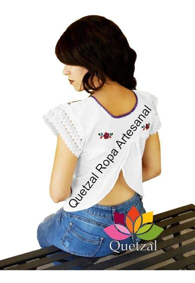 Blusa De Dama Mexicana Artesanal Bordada Típica Media Luna