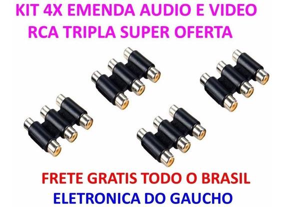Kit 4 X Emenda Tripla Rca Cabo Áudio E Vídeo Fêmea X Fêmea