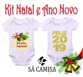 Kit 2 Body Infantil Natal/ Ano Novo-estica