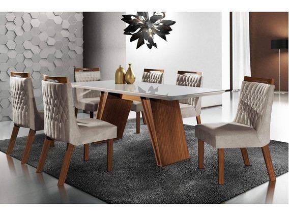 Conjunto Sala De Jantar Mesa Tampo Mdf E 6 Cadeiras Atlanta